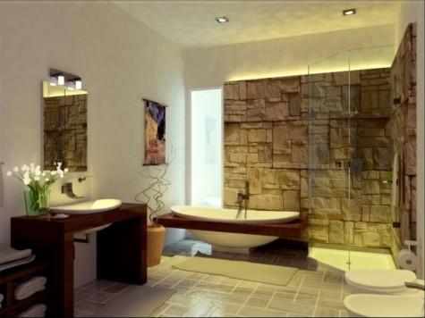 Ein Wohlfühlbad mit gemauerter Wand